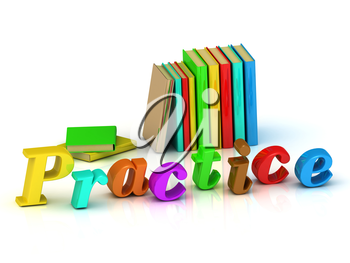 Practice inscription bright volume letter and colour books on white background
