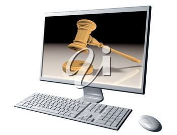 Royalty Free Clipart Image of a Computer with a Gavel