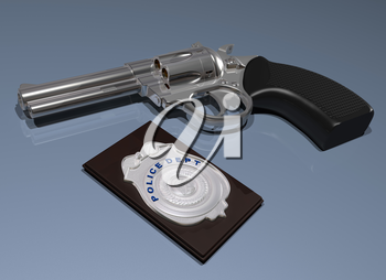 Royalty Free Clipart Image of a Police Badge with a Gun