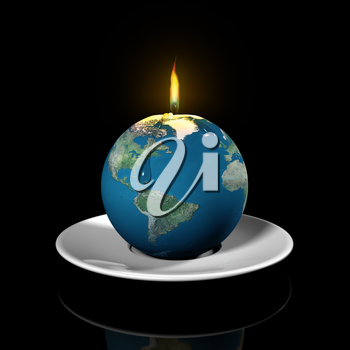 Royalty Free Clipart Image of a Candle in the Shape of the World