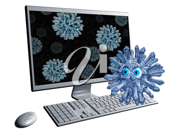 Royalty Free Clipart Image of a Cartoon Virus Infecting a Computer