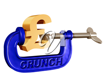 Royalty Free Clipart Image of a Pound Dollar Sign in a Clamp