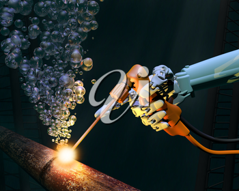 Royalty Free Clipart Image of a Robotic Hand Welding Under Water