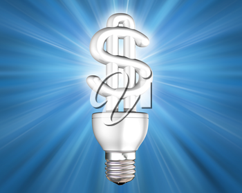 Royalty Free Clipart Image of a Light Bulb with a Dollar Sign