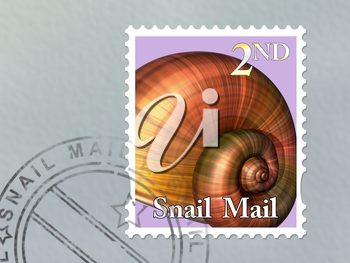 Royalty Free Clipart Image of a Stamp with a Snail