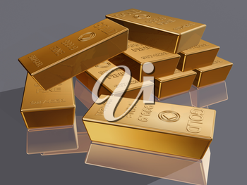 Royalty Free Clipart Image of a Gold Money Bars