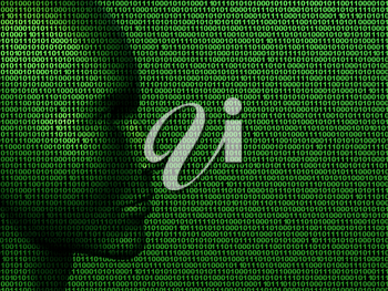 Royalty Free Clipart Image of a Face with Number Codes as the Background