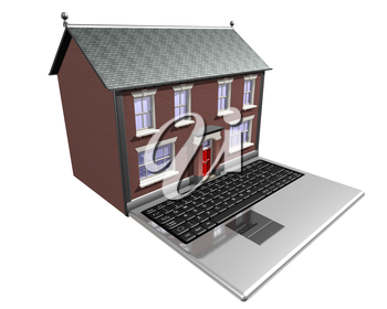Royalty Free Clipart Image of a Laptop with a House