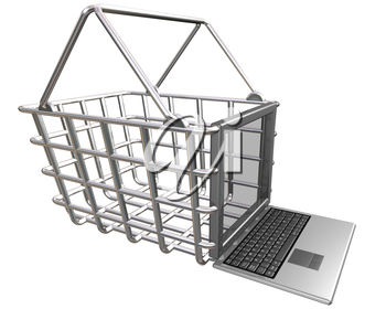Royalty Free Clipart Image of a Laptop and a Basket