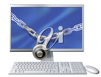 Royalty Free Clipart Image of a Computer with a Chain and Lock