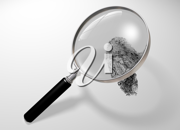 Royalty Free Clipart Image of a Magnifying Glass with Fingerprint