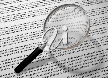 Royalty Free Clipart Image of a Magnifying Glass and Words