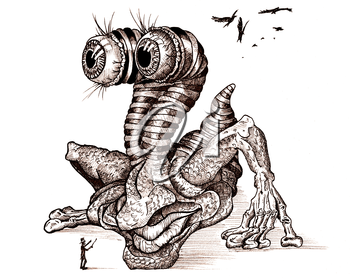 Royalty Free Clipart Image of an Ink Drawing of a Monster