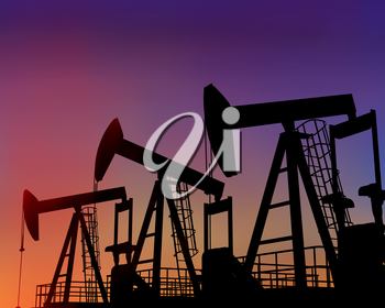 Royalty Free Clipart Image of an Oil Rig
