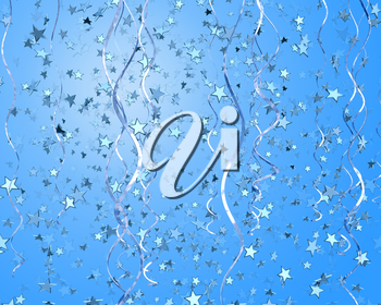 Royalty Free Clipart Image of a Background of Streamers and Stars