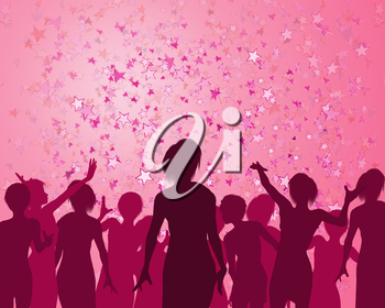 Royalty Free Clipart Image of a People Celebrating with Confetti in the Shape of Stars