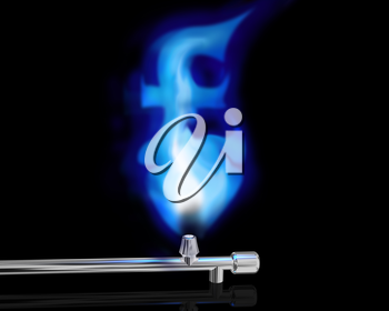 Royalty Free Clipart Image of a Gas Flame in the Shape of a Pound Sign