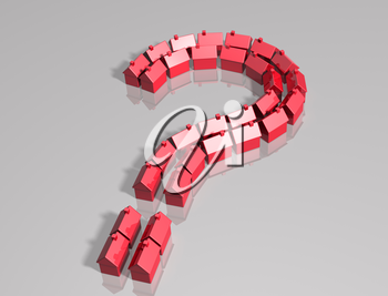 Royalty Free Clipart Image of a Question Mark Made up of Houses