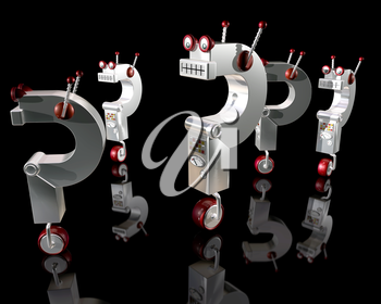 Royalty Free Clipart Image of Robots in the Shape of Questions Marks