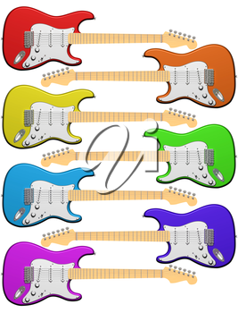 Royalty Free Clipart Image of Electric Guitars