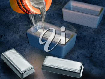 Illustration of a silversmith casting silver into ingot moulds