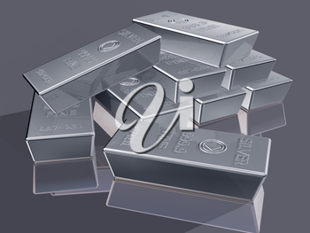 Royalty Free Clipart Image of Silver Reserves Piled in a Stack