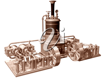 Royalty Clipart Image of a Four Cylinder Steam Engine and Boiler