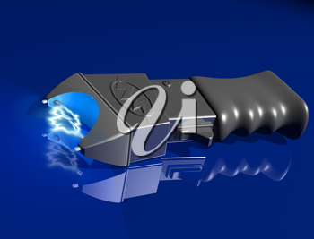 Royalty Free Clipart Image of a Generic Stun Gun on a Shiny Blue Surface