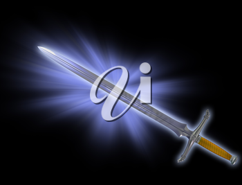 Illustration of a magical fantasy Knight sword