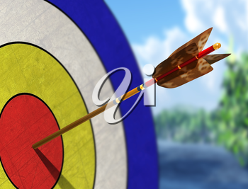 Illustration of an arrow in the centre of its target