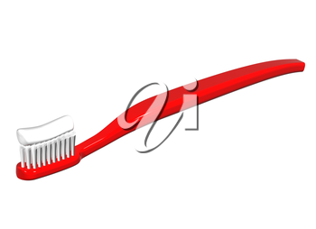 Isolated illustration of a shiny red toothbrush with toothpaste on it