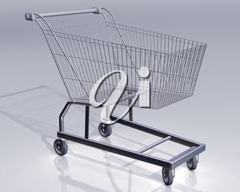 Illustration of an empty shopping cart on a reflective surface