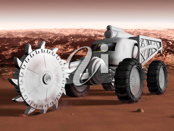 Royalty Free Clipart Image of a Martian Excavator