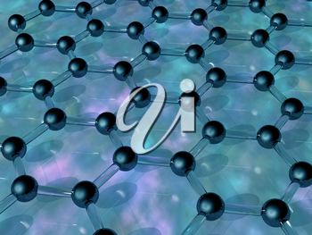 Royalty Free Clipart Image of Carbon Atoms Forming a Honeycomb Background