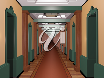 Never ending Art Deco corridor with an infinite number of rooms