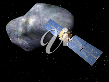 Satellite with large asteroid looming up behind it