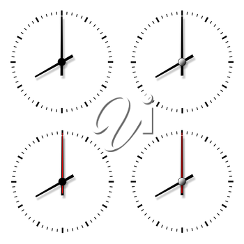 Set of clocks without numbers isolated on white background.