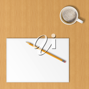 Sheet of office paper, yellow pencil and cup of hot coffee on wooden background with soft shadows.  Above view.
