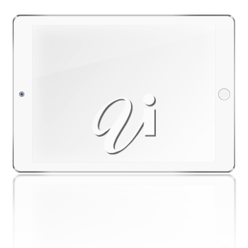 Tablet computer with blank screen and reflection isolated on white background. Highly detailed illustration.