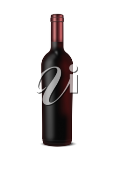 Bottle of wine isolated on white background. Highly detailed illustration.