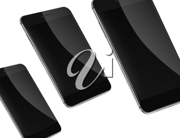 Mobile smart phones with black screens isolated on white background. Highly detailed illustration.