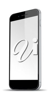 Realistic mobile phone with blank screen and shadows isolated on white background. Highly detailed illustration.
