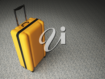 Large family polycarbonate luggage on stone floor background. 3D rendering.