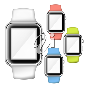 Modern trendy colorful smart watches with empty place for your text. 3D illustration.