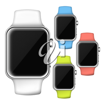 Modern trendy colorful smart watches with empty black screen. 3D illustration.