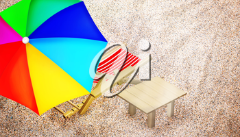 Beach chair, table and multy colored umbrella on sandy beach. Vacation. Travel. Top view. 3D illustration.