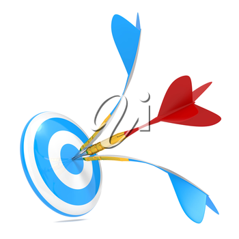 Red Dart Got to Center of Blue Dart and Broke It.Hitting a Target Concept.