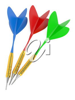 Set of Multi-Colored Darts. Isolated on White.