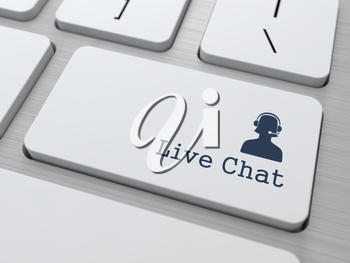 Live Chat Button on Modern Computer Keyboard. (v3)