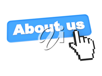 About Us - Social Media Button. Isolated on White Background.